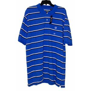 New Chaps Polo Golf Shirt XL Blue With Stripes